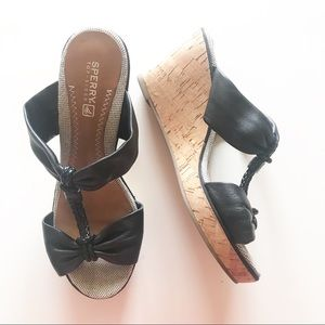 Sperry Top Sider Cork Black Leather Wedges S 6.5